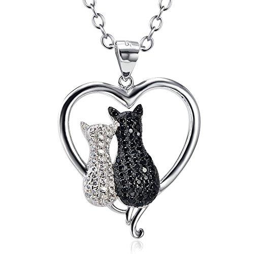 Plata 925 collar de circonitas cúbicas la madre y el niño gato colgante de corazón 45,72 cm