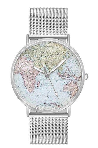 Welt Sicher (Damenuhr Herrenuhr Unisex Armbanduhr Damen Herren Quarz Uhr Farbe Silber + verschiedene Armbandfarben Design Weltkarte Globus Landkarte Karte Welt Lederarmband Mesharmband Metallarmband Mesh (Silber))