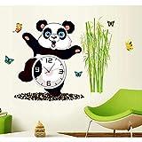 Pegatinas De Pared Arte De Tatuaje De Pared Decoración Personalizada Panda Gigante Reloj Patrón Dormitorio Sala De Estar Habitación De Niños Pvc Operación Simple Respetuoso Con El Medio Ambiente
