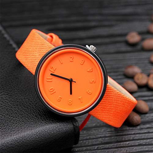 FVNRDS Damen Armbanduhr Süßigkeit-Farben-Unisexuhren-Frauen-Art- und Weiseluxusuhr-Segeltuch-Gurt-Armbanduhr-Mädchen-Geschenk, orange