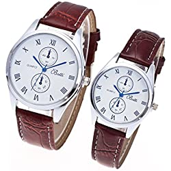 Jamicy®Stylish A Pair Womens Mens Leather Quartz Couple Wrist Watch