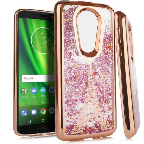 Motorola Moto E4Slim Fit Stilvolle Schutzhülle für Metro Pcs/Boost Mobile/US Cellular/Verizon/Sprint, E5 Plus, Paris Eiffel Tower Rose Gold Sprint Cellular