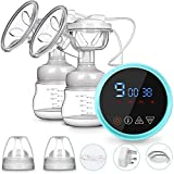 ElectricBreastPump,Icnow Dual Stronger Suction Electric BreastfeedingPump Breast Massage Express withFullTouchscreenLEDDisplayPainFree Portable