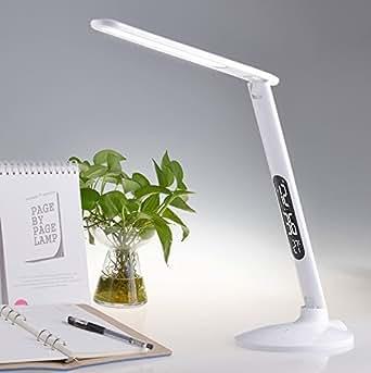 Focotec LB-S3 Lampe de table ou lampe de bureau à source en panneau LED, repliable avec régulateur de touche tactile, calendrier et réveil en LCD