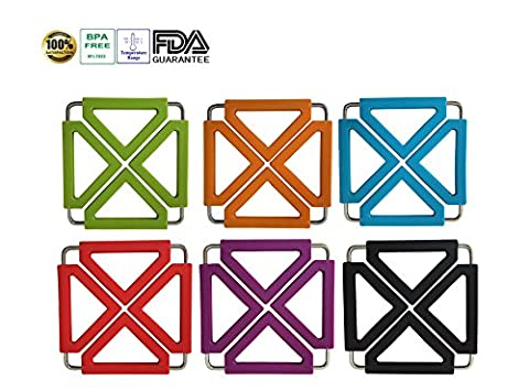 Tenta Kitchen Heavy Duty Expandable Silicone Trivets (pack of 6)