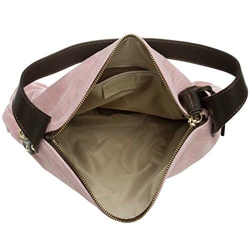 CASPAR TL765 Damen echt Leder Wildleder Tasche Handtasche Schultertasche Hobo Bag Rosa