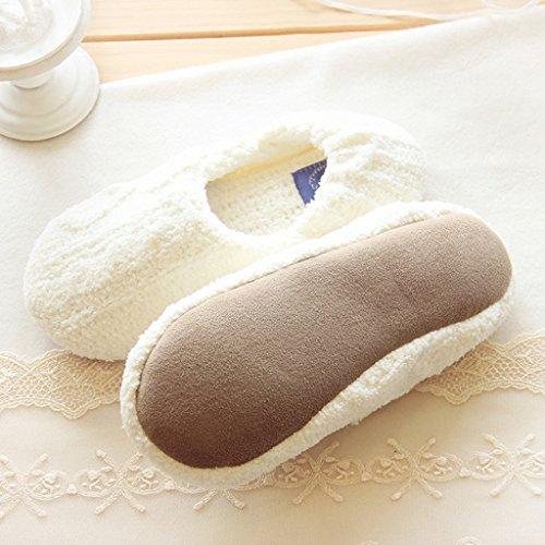 Fortuning's JDS Donne delle ragazze delle signore stile semplice solido di colore Accogliente maglieria Ciniglia pantofole avvolgere confortevole casa Calzature Bianco