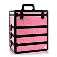 Joligrace Professional Extra Large 4 in 1 Removable Trays Makeup Organiser Box Cosmetic Case Storage Vanity Box, Extra Large Size: 35 x 24 x 40(cm), Baby Pink