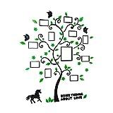 OUNONA Cornice Multipla Portafoto da Parete Adesivi da Parete Albero con Foto da Parete Stickers Murali Acquario 82.4x100 CM (Nero e Verde)