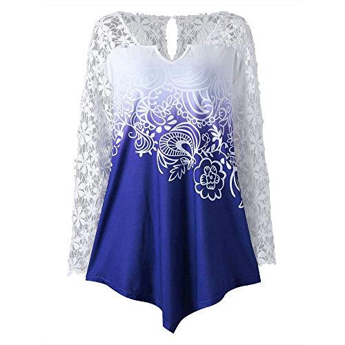 BaZhaHei 2018 Damen Langarm Mode Frauen V-Ausschnitt Langarm Blumenspitze Patchwork Yoke Ombre Top...