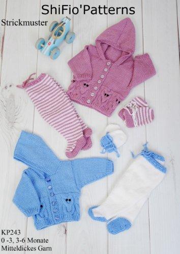 Stricklanleitung - KP243 -  Set für Babys: Jacke, Handschuhe, Hose -  Design