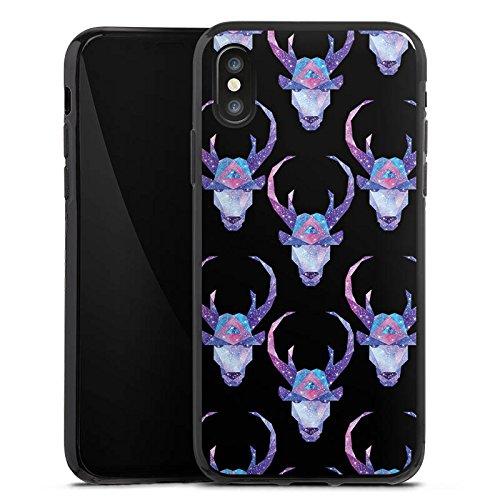 Apple iPhone X Silikon Hülle Case Schutzhülle Space Deer Reh Muster Silikon Case schwarz