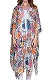 Hibluco Damen Florale Kimono Cardigan Strand Chiffon Bluse Tops Bikini Cover Up (Small, K90)