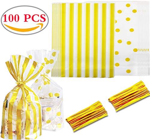 Liuer 100PCS Süßigkeiten Kekse Geschenktüten Set Süssigkeiten Beutel Süße Partytüte Tüten Candy Bag Kekse und Geschenke Tüten Kindergeburtstag mitgebsel für Weihnachten Hochzeiten (Hausgemachte Für Party Halloween-dekoration)