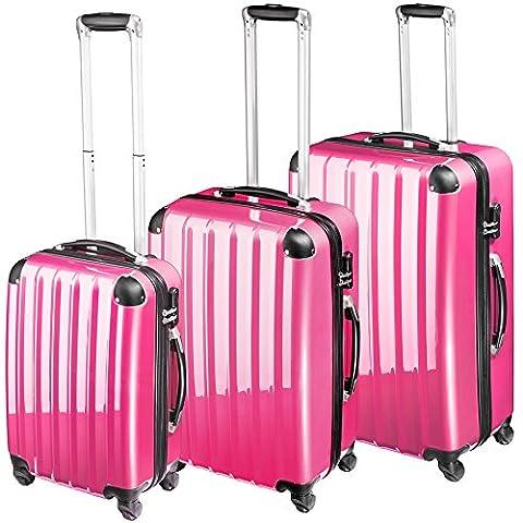 TecTake Polycarbonate Multilayer Set Lot de 3 valises Trolley rose