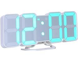 Decdeal Wecker Digital RGB LED USB Tischuhr 3D Wanduhr 115 Farbvariable mit Fernbedienung Sprachsteuerung Zeit Temperatur Dat