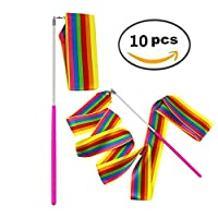 MUROAD 10 Pieces 2 Meter Art Gymnastics Rhythmic Ribbon Twirling Baton Rod,Gym Dance Ribbon Streamer and Stick for Children,rainbow