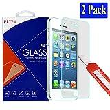 2x iPhone SE / 5S / 5 / 5C Ultra-Klar plt24 Glasfolie Panzerglas Schutzfolie Displayschutzglas Schutzglas Hartglas für Apple iPhone 5 5S 5C 5SE (2 Stück)