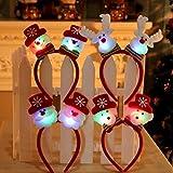 UCTOP STORE 4 Juegos de Lindos Surtidos de Navidad LED Cabeza Boppers Navidad Pelo Accesorio Diadema decoración de Navidad