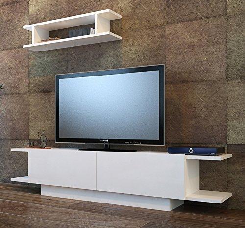 Bride set soggiorno - bianco ( lucido ) - parete attrezzata - mobile tv porta con mensola da muro un design moderno
