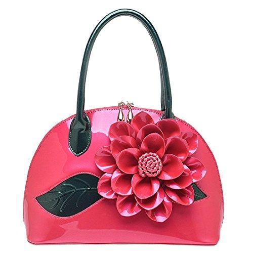 Donna borsetta Borsa a tracolla Elegante Rose Totalizzatore Crossbody Borse per maniglie , green rose red