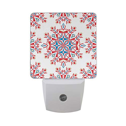 DFISKK Nachtlicht Set of 2 Ornate Floral Ethnic Pattern Mandala Shape Endless Texture in Red White and Blue Colors Auto Sensor LED Dusk to Dawn Night Light Plug in Indoor for Adults