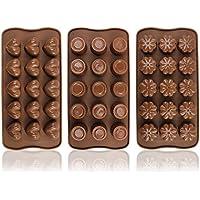 COM-FOUR® 3x Silikon Formen für Pralinen, Pralinenformen für jeweils 15 Pralinen oder Eiswürfel (03 Stück - Praline)