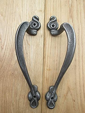 IRONMONGERY WORLD® 1 PAIR OF ANTIQUE IRON CAST IRON VINTAGE OLD STYLE DECORATIVE FANCY HEAVY GATE DOOR BARN PULL HANDLE