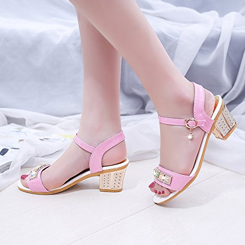 Sommer Damen Mode Sandalen komfortable High Heels Pink