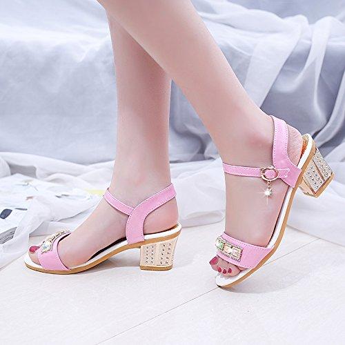 Estate moda donna sandali comodi tacchi alti Pink