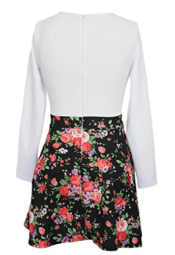 Toocool - Vestito donna mini abito miniabito floreale fiori svasato elegante nuovo DL-1580 Multicolor