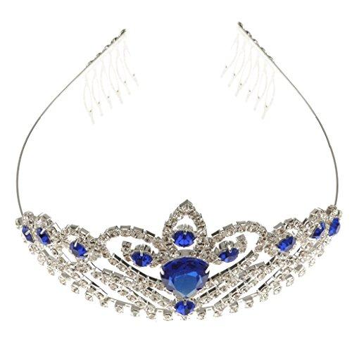 Hochzeit Brautkrone Blau Weißen Kristall Strass Stirnband Tiara Genickstück