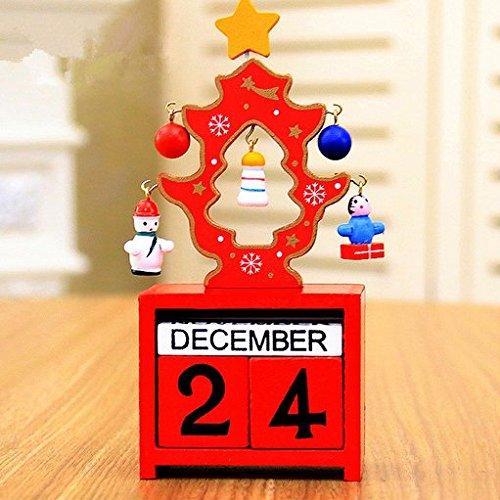 URGrace 1PcsRot/Grü/Weiß Kreative Weihnachtsbaum mit manuell Kleine Anhänger aus Holz Kalender Countdown Bloc Uhr Schreibtisch Crafts Hauptlieferungs Ornaments Countdown New Years Weihnachtsgeschenke