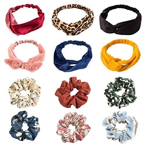 LZYMSZ 12PC frauen Stirnbänder Haargummis, Blumendruck Headwrap Twist Knoten Haarband Yoga Kopf...