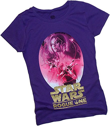 Lucasfilm Ltd. Rogue One: A Star Wars Story -- Jyn Erso Montage Tween Girls T-Shirt, Medium (10/12)