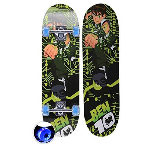 rd Komplett Longboard Double Kick Skateboard Cruiser 8 Lagen Ahorn Deck für Extremsport und Outdoor, 3,72cm ()