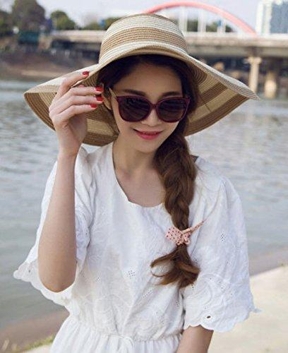 Qingsun Chapeau Fedora Panama en paille Filles Plage De La Mode Anti-Uv Pliables Rayures Noires et Blanches Larges Bords Protection Solaire Chapeau de Soleil kaki+blanc
