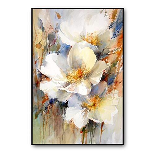 Rincr 100% handgemalte abstrakte weiße Blumen malen auf Leinwand Wandkunst Wandschmuck Bilder malen für Wohnzimmer Wohnkultur