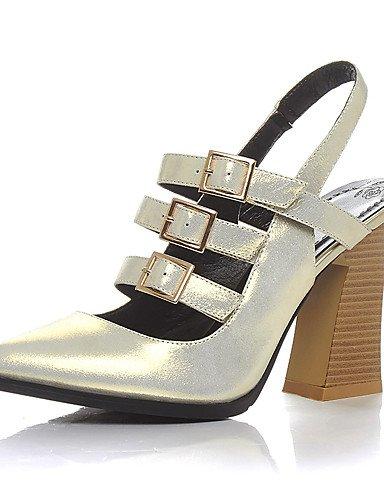 WSS 2016 Chaussures Femme-Bureau & Travail / Habillé / Soirée & Evénement-Argent / Or-Gros Talon-Talons / Gladiateur / Bout Pointu-Talons-Peau de silver-us7.5 / eu38 / uk5.5 / cn38