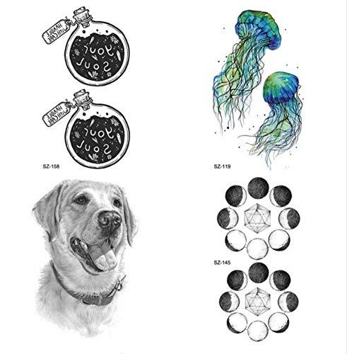 er Labrador-Hund Temporäre Tätowierung Weibliche Körperkunst Zeichnung Ich wünsche Flasche Tattoo Aufkleber Planet Waterproof Fake Moon Tattoo ()