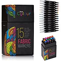 Fabric Pens Set of 15 Vibrant Colours, Dual Tip Design. Our Permanent Fabric Marker Pens Have The Brand New Highest Quality German Ink With Minimal Bleed Perfect For Designing T-Shirts, Baby Bibs, Shoes, Tote Bags. Non Toxic Low Odour and Safe for Kids.