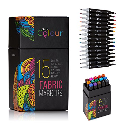 Stoffmarker-Set: Textilstifte für Ihr Design auf Textilien wie T-Shirts, Schuhe, Tragetaschen, Kissenhüllen, Stoff-Stifte mit Dual-Spitze in 15 Farben von Sure Colour, Ungiftig und sicher für Kinder und Erwachsene