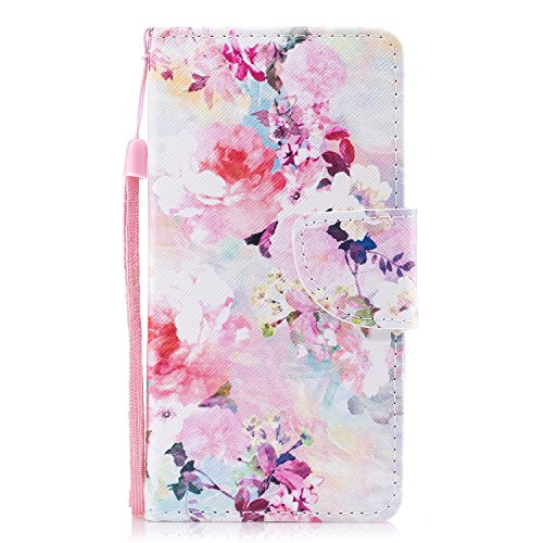Chreey iPhone 6 6S Plus Hülle, PU Leder Schutzhülle mit Verträumte Blumen Muster Bumper Flip Wallet Case Handyhülle