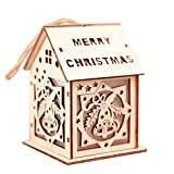 FeiyanfyQ LED Luce casa in Legno da Appendere all' Albero di Natale Ornamento Party Festival Decor Gift