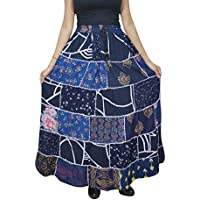 Women Patchwork Skirt Vintage Blue Rayon Gypsy A-Line Skirts S/M
