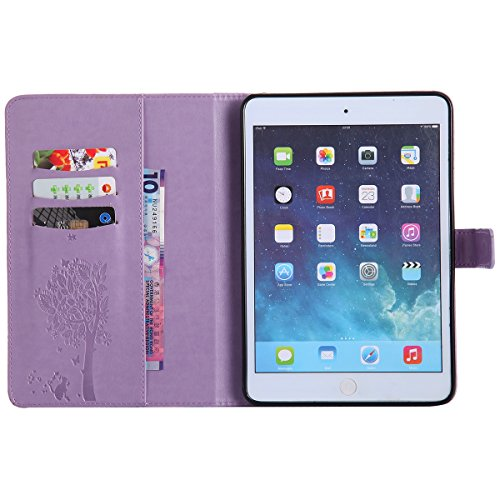 Custodia iPad Mini 2, iPad Mini 3 Flip Case Leather, SainCat Custodia in Pelle Cover per iPad Mini 1/2/3, Anti-Scratch Book Style Protettiva Caso PU Leather Flip Portafoglio Custodia Libro Protettiva  Luce Viola