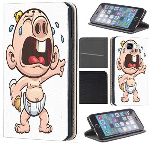 CoverFix Premium Hülle für Samsung Galaxy J5 (Modell 2016) J510 Flip Cover Schutzhülle Kunstleder Flip Case Motiv (466 Baby Cartoon mit Windel)