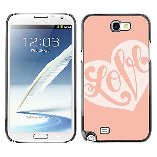 GooooStore/Dura Custodia Rigida della copertura della cassa - Calligraphy Valentines Heart Pink Peach - Samsung Galaxy Note 2 N7100 - 2 ° Fast Peach