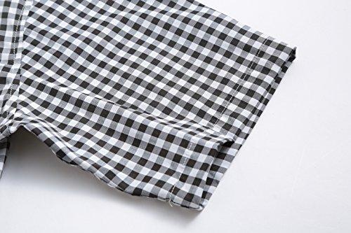 JEETOO Klassics Herren Slim Fit Bügelleicht Kariert Kurzarm Bluse Freizeit Hemd Baumwolle Button-down Super Modern super Qualität Shirt Schwarz und Weiß