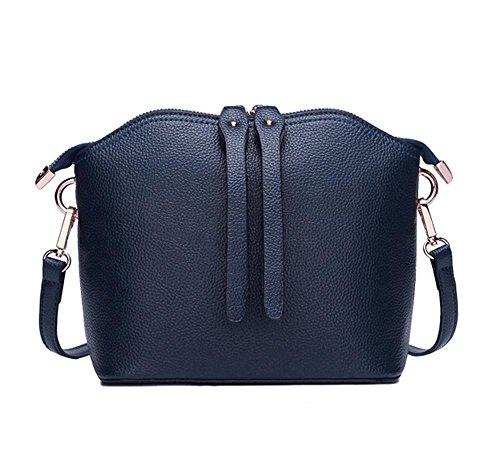 Yanx signora modo della pelle bovina signore pacchetto guscio spalla Tote Bag (21 * 19 * 10,5 centimetri) , blue